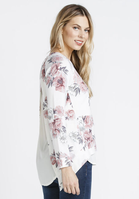Ladies' Floral Chiffon Insert Top, IVORY, hi-res