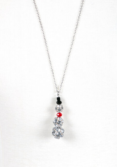 Ladies' Snowman Necklace, RHODIUM, hi-res