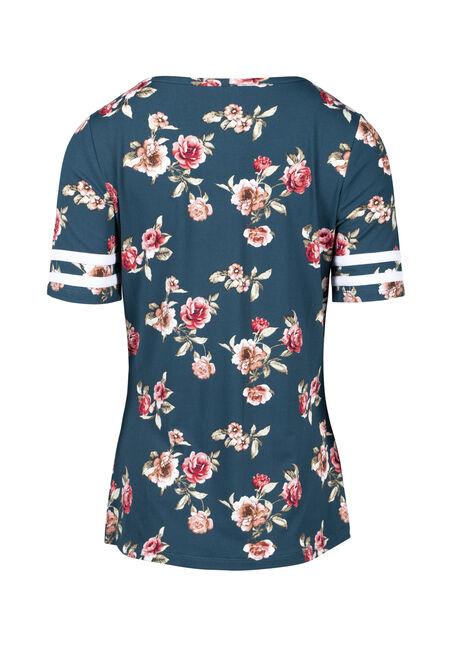Women's Floral Football Tee, TEAL FLRL, hi-res