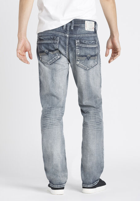 Men's Whisker Wash Relaxed Straight Jeans, LIGHT WASH, hi-res