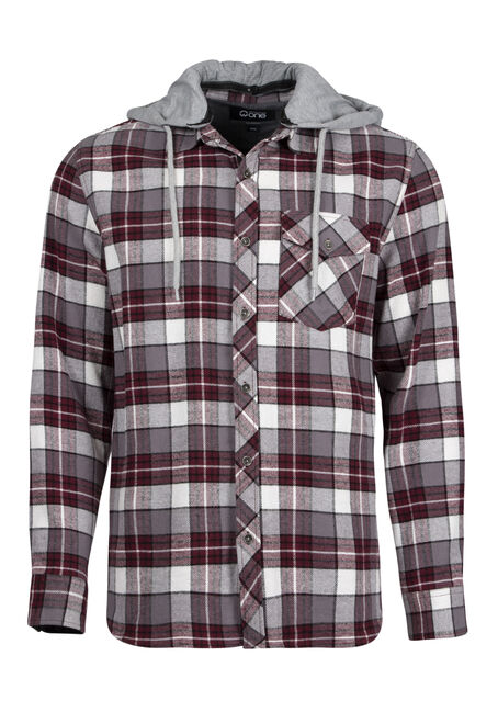 Men's Plaid Hooded Shirt Jacket