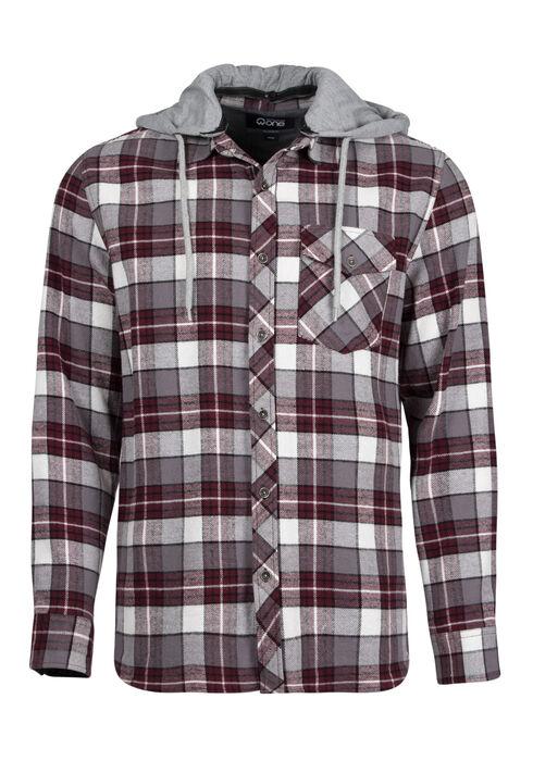 Men's Plaid Hooded Shirt Jacket, FIG, hi-res