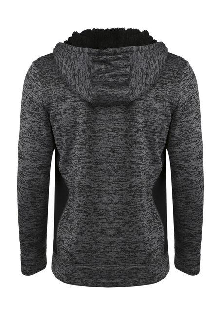 Men's Sweater Knit Zip Front Hoodie, CHARCOAL, hi-res