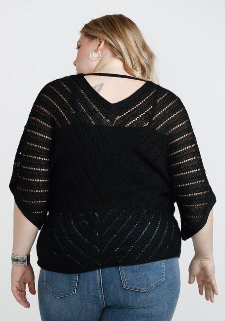Women's Tie Front Sweater, BLACK, hi-res