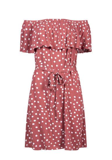 Women's Polka Dot Bardot Dress, SEDONA PRINT, hi-res