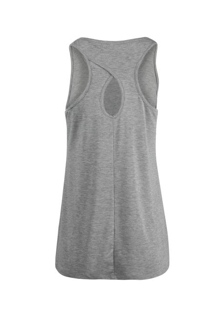 Ladies' Femme Power Keyhole Tank, HEATHER GREY, hi-res