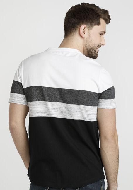 Men's Short Sleeve Colourblock Tee, BLACK, hi-res