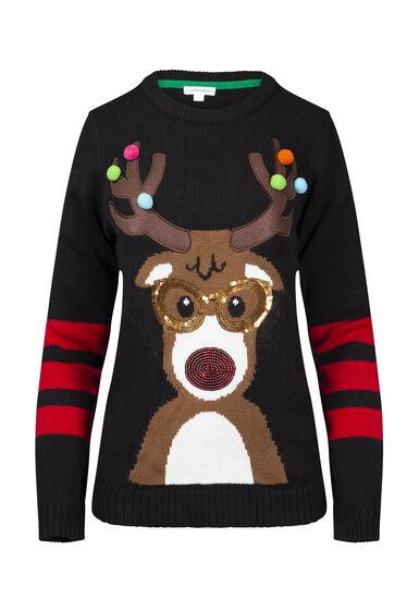 Women's Reindeer Holiday Sweater, BLACK, hi-res