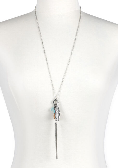 Women's Tassle & Charms Necklace, SILVER OX, hi-res