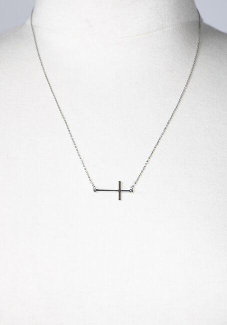 Women's Cross Necklace, SILVER, hi-res