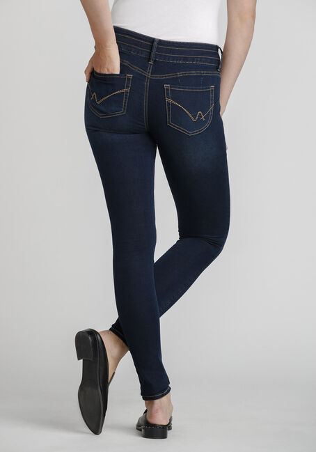 Women's 3-Button Skinny Jeans, DARK WASH, hi-res