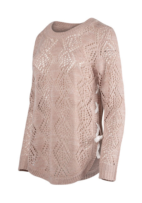 Women's  Lace Up Pointelle Sweater, PINK/IVORY, hi-res