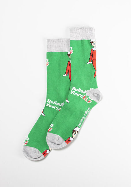 Men's Single Crew Socks, GREEN, hi-res