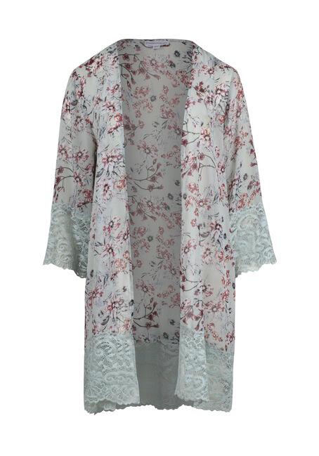 Women's Floral Lace Trim Kimono