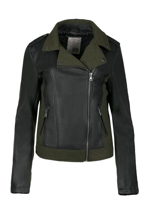 Ladies' Moto Jacket, OLIVE/BLACK, hi-res