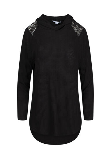 Women's Lace Insert Hooded Waffle Top, BLACK, hi-res