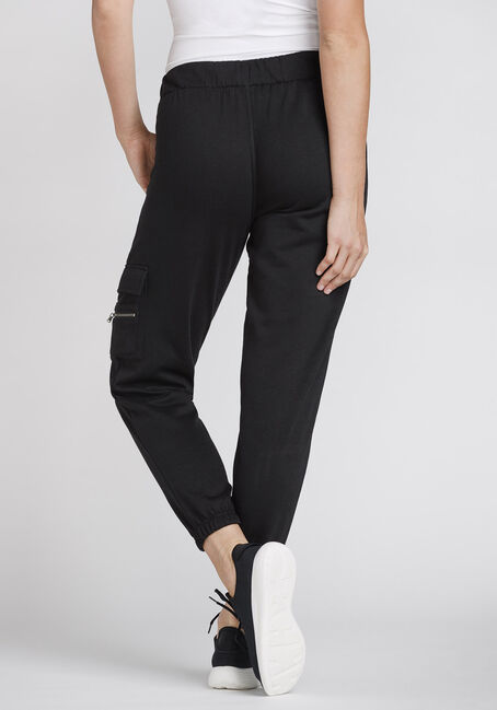 Women's Fleece Cargo Pant, BLACK, hi-res
