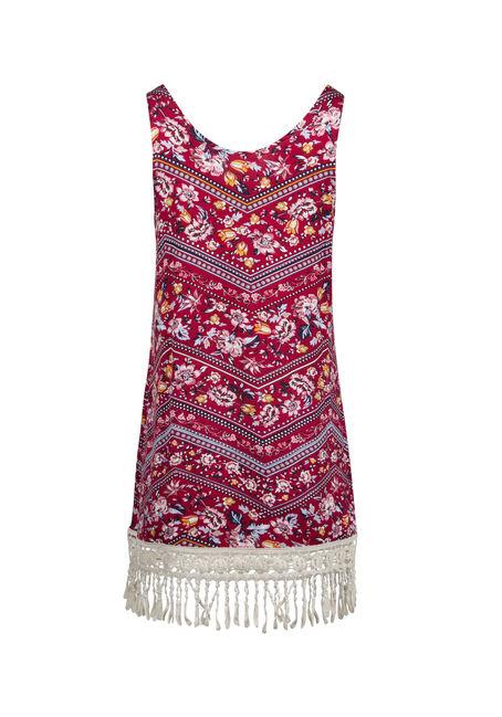 Ladies' Floral Crochet Hem Tank, CORAL, hi-res