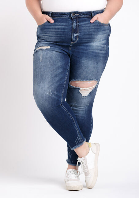 Women's Plus Size High Rise Distress Crop Skinny Jeans