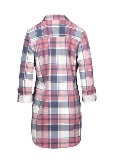 Women's Knit Plaid Tunic Shirt, PINK, hi-res