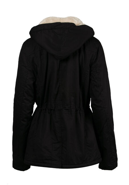 Ladies' Hooded Anorak Jacket, BLACK, hi-res
