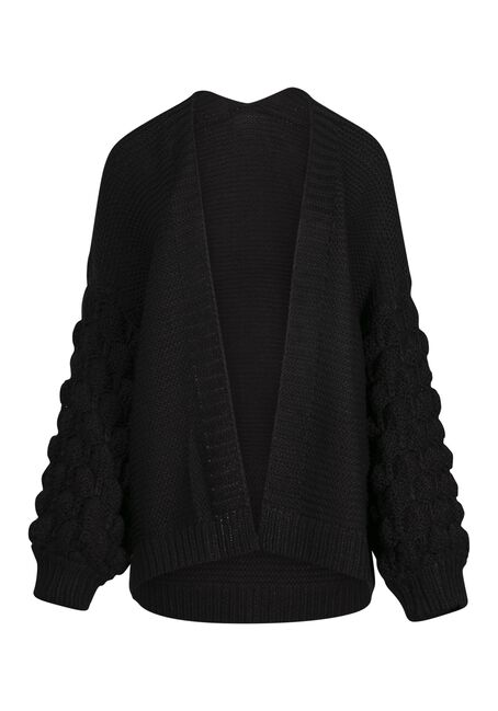 Women's Bubble Sleeve Cardigan, BLACK, hi-res