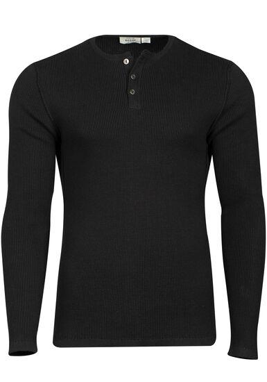 Men's Thermal Knit Henley, BLACK, hi-res