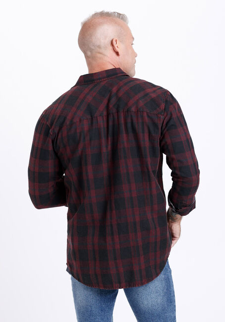 Men's Vintage Wash Plaid Shirt, TRUE WINE, hi-res