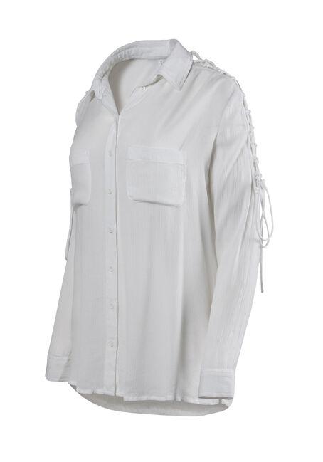 Women's Lace Up Sleeve Shirt, WHITE, hi-res