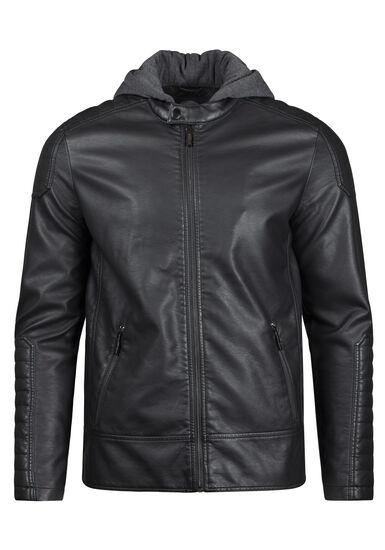 Men's Hooded Moto Jacket, BLACK, hi-res