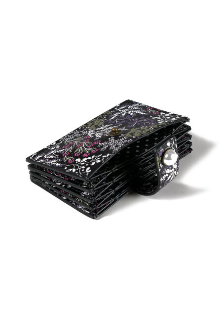 Women's Floral Card Holder, PURPLE, hi-res