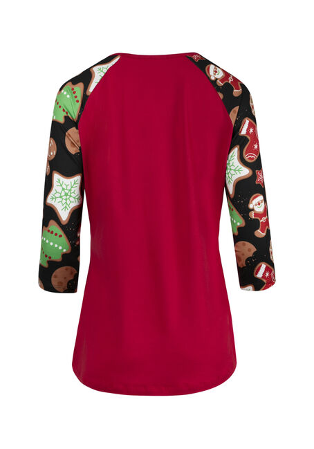 Ladies' Gingerbread Baseball Tee, BRIGHT RED, hi-res