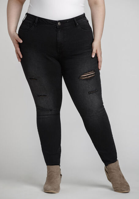 Women's Plus Size Black Distressed Skinny Jeans