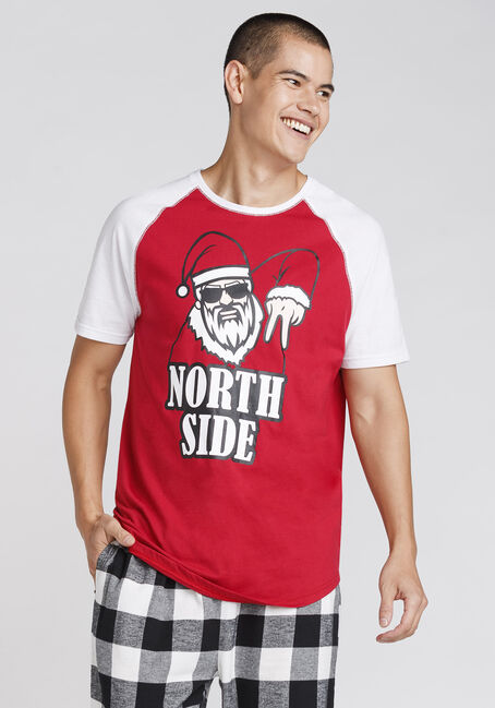 Men's Santa Tee, RED, hi-res