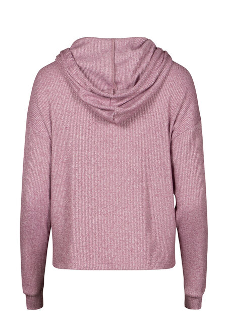 Women's Hooded Rib Top, BURGUNDY, hi-res