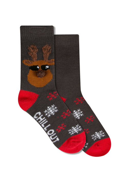 Ladies' Chill Out Holiday Socks, GREY, hi-res