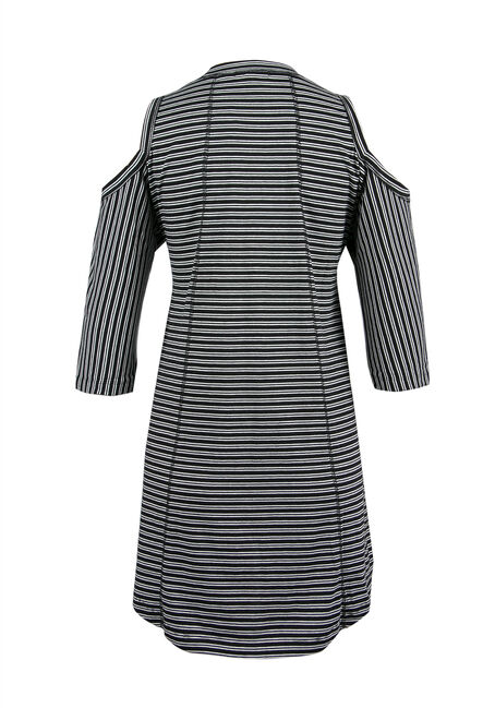 Ladies' Stripe Cold Shoulder Top, IVORY, hi-res