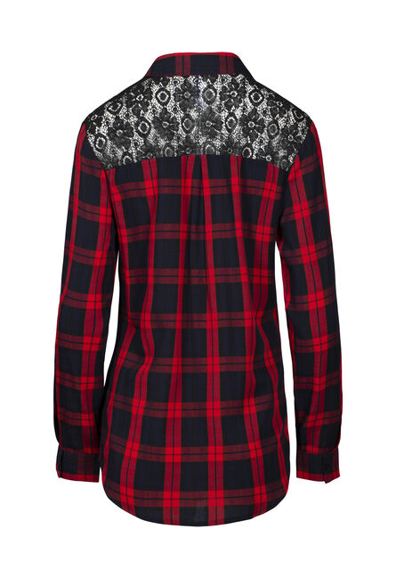 Women's Buffalo Plaid Lace Trim Shirt, RED, hi-res
