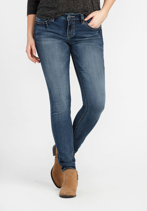 Ladies' Skinny Super Soft Jeans, MEDIUM VINTAGE WASH, hi-res