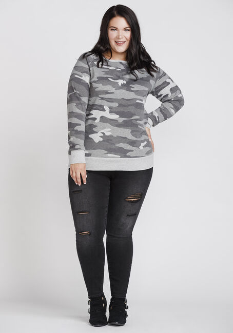 Women's Camo Crew Neck Fleece, GREY, hi-res