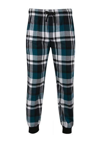 Men's Plaid Flannel Jogger, TURQUOISE, hi-res