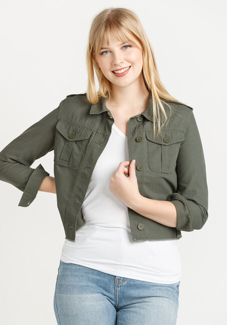 Women's Cropped Canvas Utility Jacket With Frayed Hem