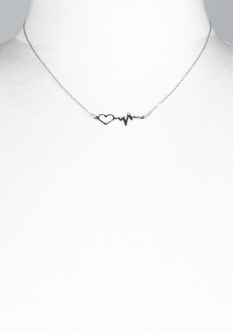 WOMEN'S HEARBEAT PENDANT NECKLACE, SILVER, hi-res