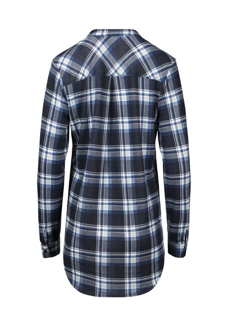 Women's Lace Up Knit Plaid Shirt, BLUE, hi-res