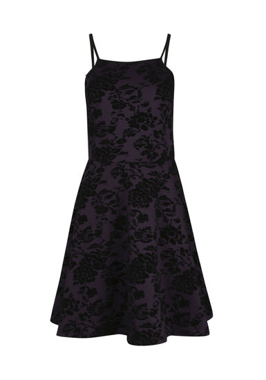 Women's Floral Flocked Fit & Flare Dress, AUBERGINE, hi-res