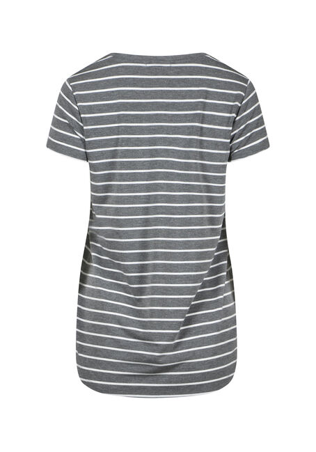Women's Stripe V-Neck Tee, HEATHER GREY, hi-res