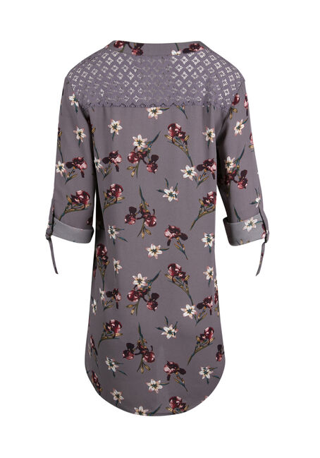 Ladies' Floral Lace Tunic Top, GREY, hi-res
