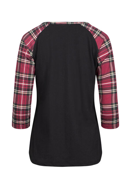 Women's Plaid Print Baseball Tee, BLACK, hi-res