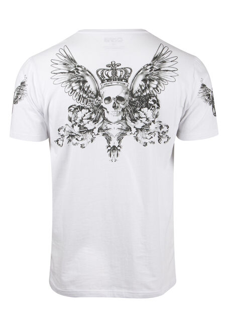 Men's Flocked Skull Tee, WHITE, hi-res