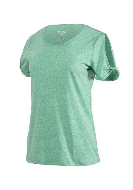 Women's Split Sleeve Tee, EMERALD, hi-res